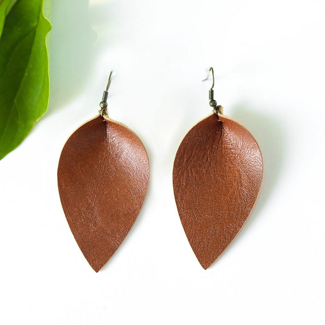 """JoJo"" Faux Leather Drop Earrings"