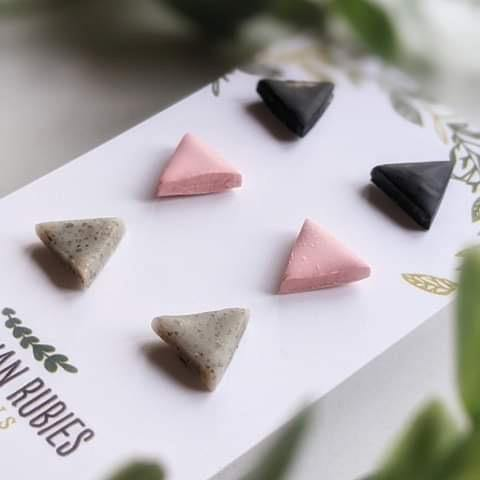 """Triangle Trio"" Polymer Clay Stud Set of Three - More Than Rubies Designs"