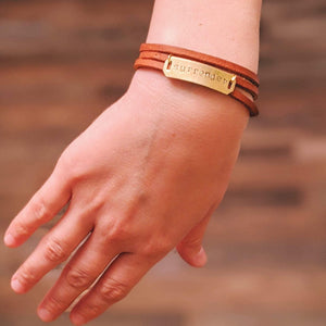 """Surrender"" Hand Stamped, Genuine Leather Wrap Bracelet - More Than Rubies Designs"