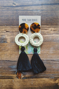 """Nikole"" Tortoiseshell Rattan Tassel Earrings"