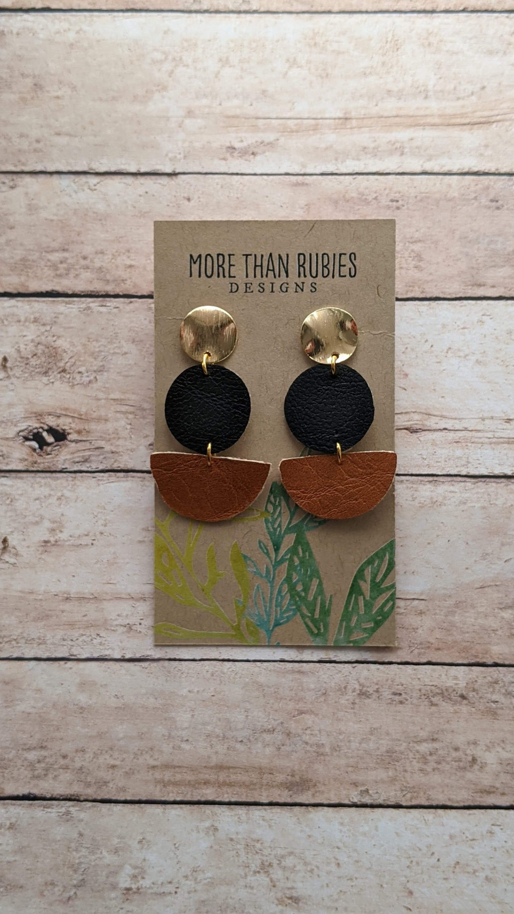 """Miley"" Faux Leather + Metal Drop Earrings - More Than Rubies Designs"