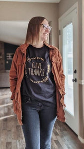"""Give Thanks"" gold foil/navy tee"