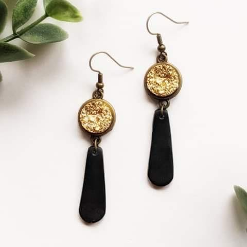 """Starry Night"" Gold Druzy and Polymer Clay Dangle Earrings - More Than Rubies Designs"