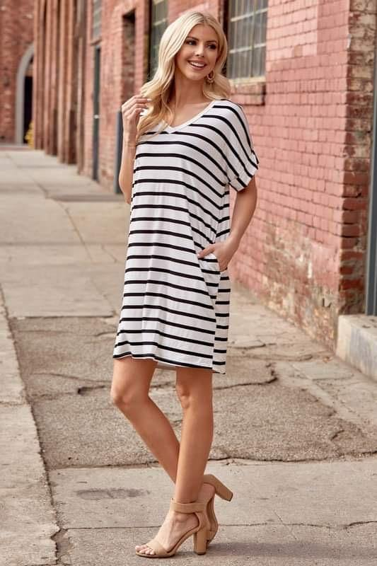 Striped T Shirt Dress with Pockets - More Than Rubies Designs