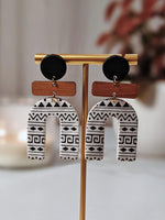 "Load image into Gallery viewer, ""Aztec"" Polymer Clay and Wood Arch Earrings"