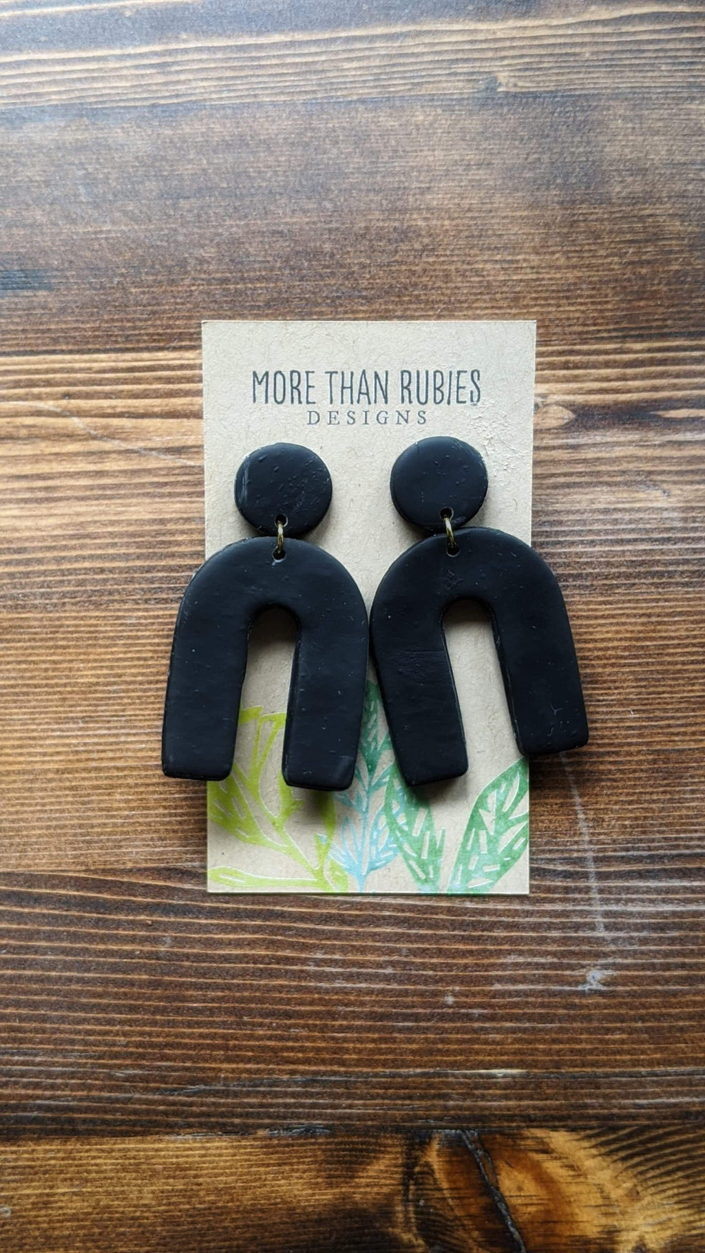 """Raven"" Polymer Clay Drop Earring - More Than Rubies Designs"