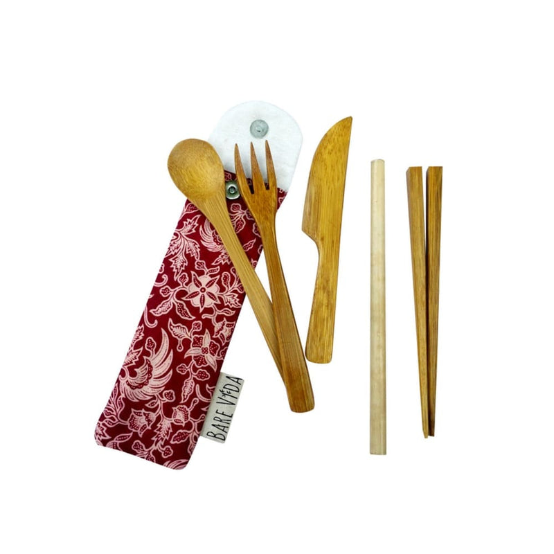 Premium Bamboo Utensil Set in Slim Travel Pouch by Bare Vida