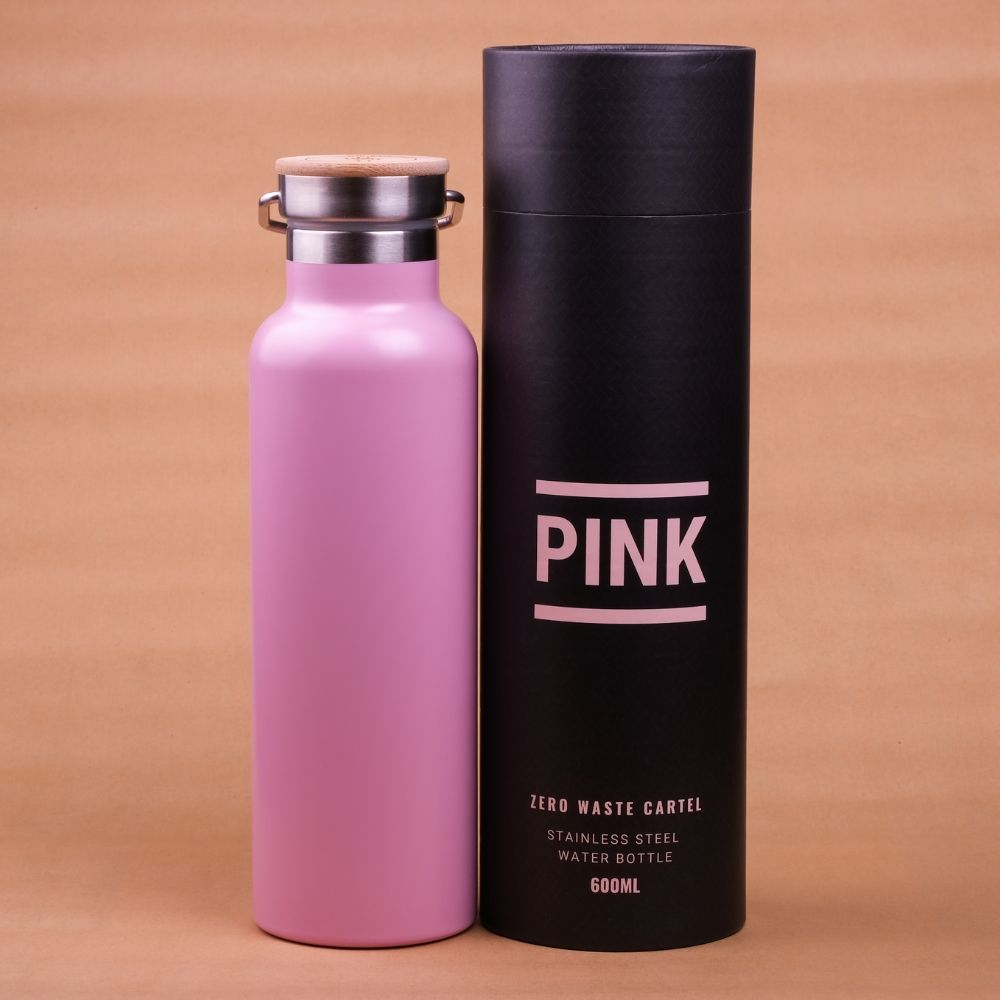 Pink Stainless Steel Drinking Bottle with Bamboo Lid - 600ml
