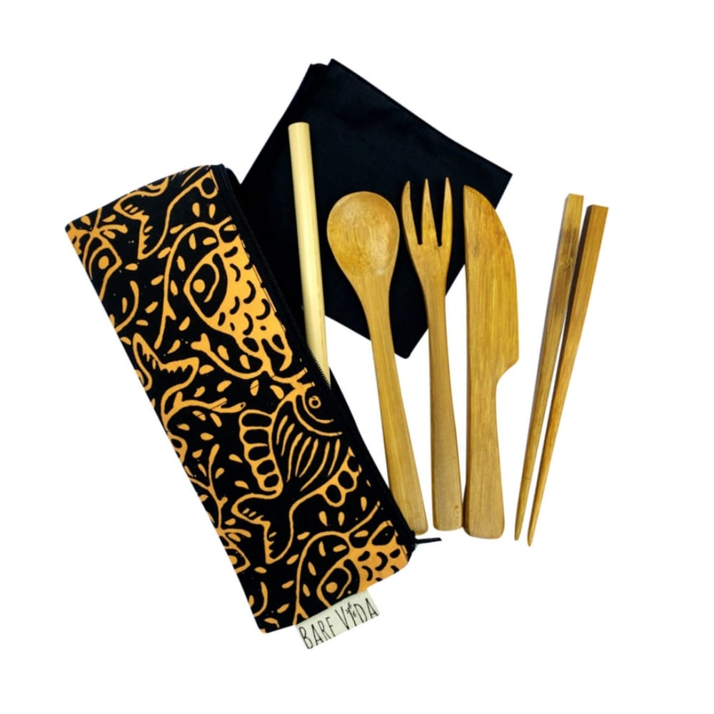 Handmade Bamboo Utensil Set with Napkin & Straw | Bare Vida