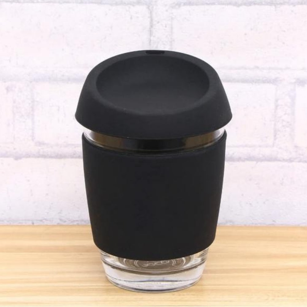 Minimalist Reusable Glass Coffee Mug with BPA-Free Silicone Lid