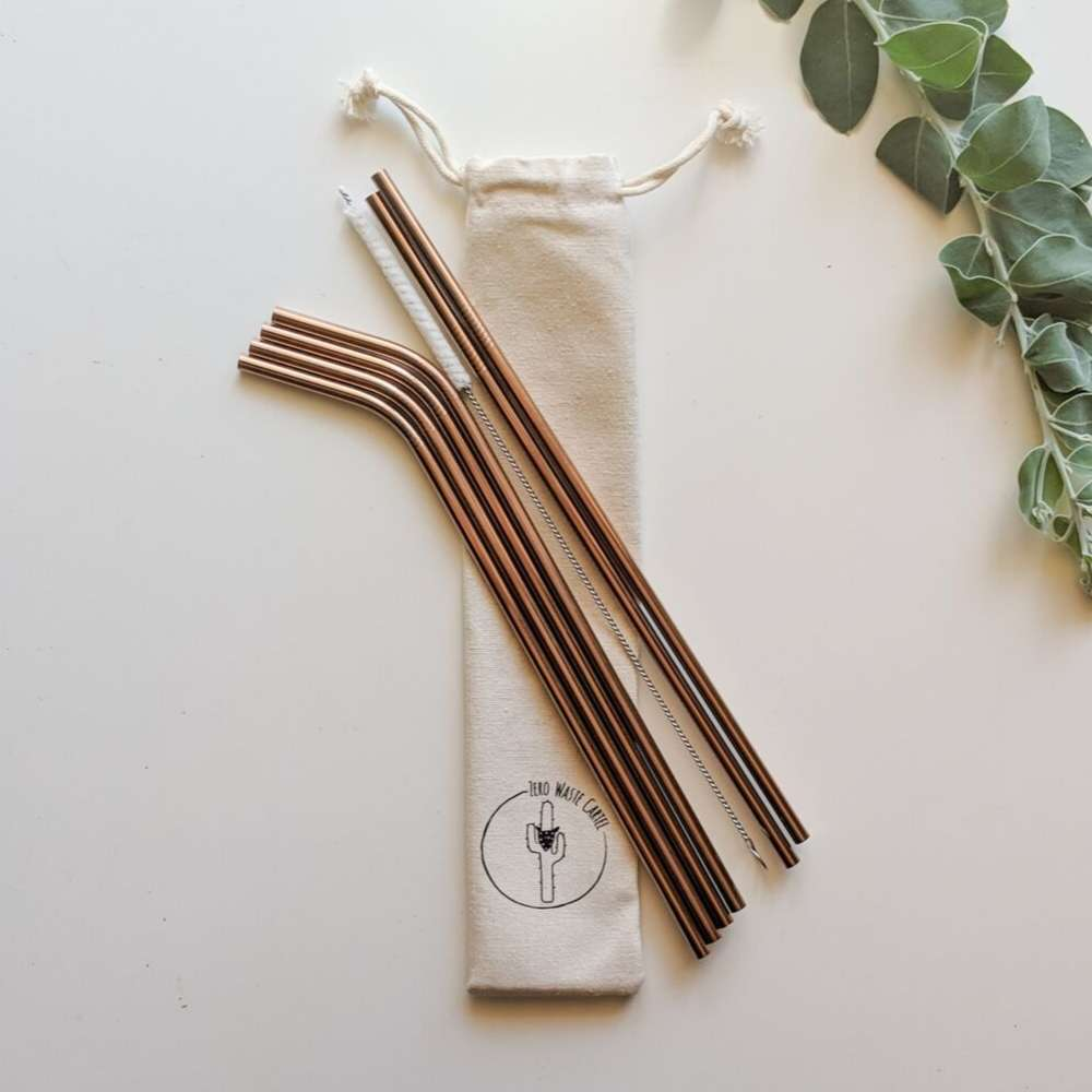Stainless Steel Drinking Straws - Gold