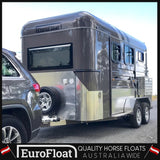 eurofloat-horse-floats - SQUARE NOSE GUN METAL PLATINIUM SILVER  2HAL - 2 Horse Angle Load