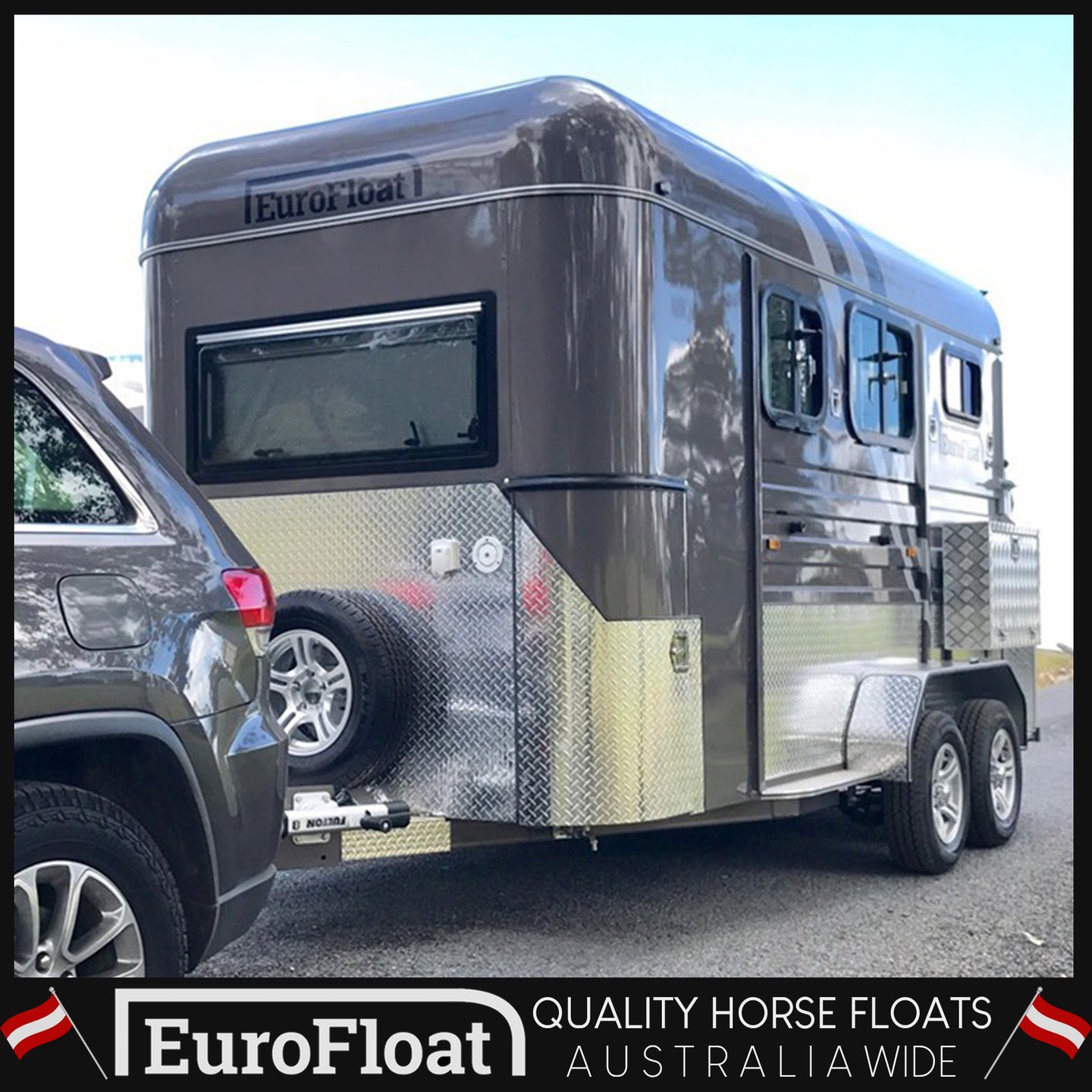 SQUARE NOSE GUN METAL PLATINIUM SILVER  2HAL - Eurofloat Horse Float Trailer Sale Hire Angle Straight Load Warm Blood