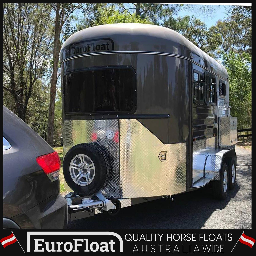 2HAL-Deluxe Gun Metal Platinium Silver 2019 - Eurofloat Horse Float Trailer Sale Hire Angle Straight Load Warm Blood