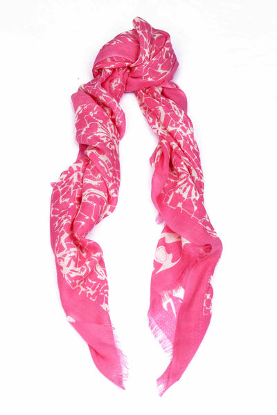 Ivory Lace Scarf Pink