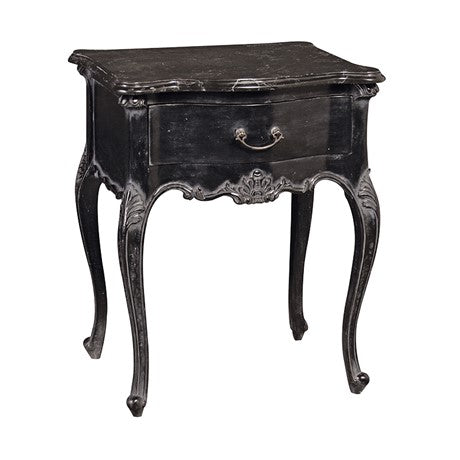 Moulin Noir Bedside Table with Marble Top