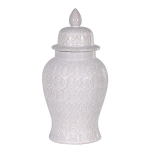 Ginger Jar (Large) White Patterned