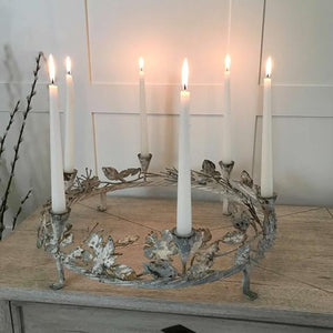 Distressed Metal Ornate Ring Candle Holder