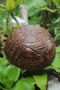 Fully carved Marquesan bowl - Mata Tiki