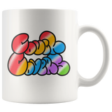 """COUCH COVERS: Rainbow Bubble"" 11oz Coffee Mug (White)"