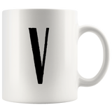 """AO APPAREL: LetterMug (U, V, W, X, Y)"" 11oz Coffee Mug (White)"