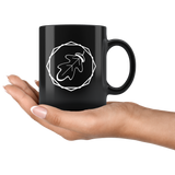 """AO APPAREL: Classic OakCorn"" 11oz Coffee Mug (Black)"