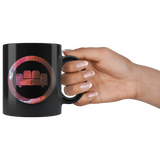 """COUCH COVERS: Red Lava"" 11oz Coffee Mug (Black)"