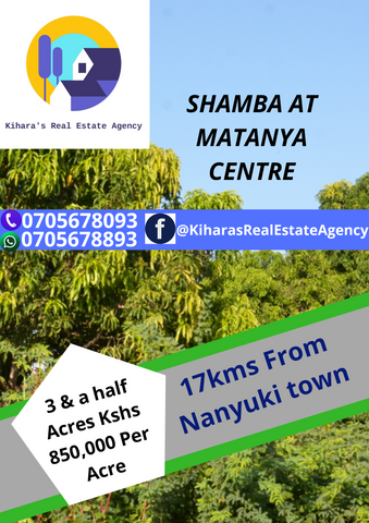 3.5 acres at Matanya Centre. 17 km from Nanyuki town.