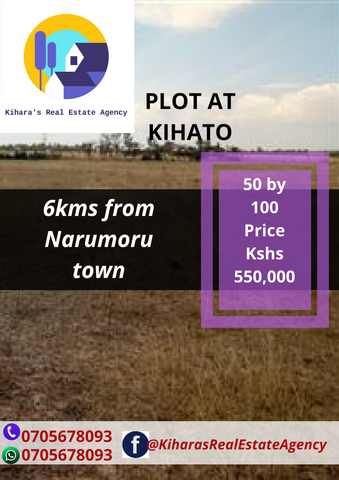 1/8 acre plot at Kihato 6kms from Narumoru town