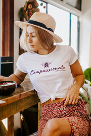 BEE COMPASSIONATE - Women's Rolled-up Sleeve T-Shirt