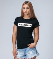 #TEAMVEGAN - Women's Rolled-up Sleeve