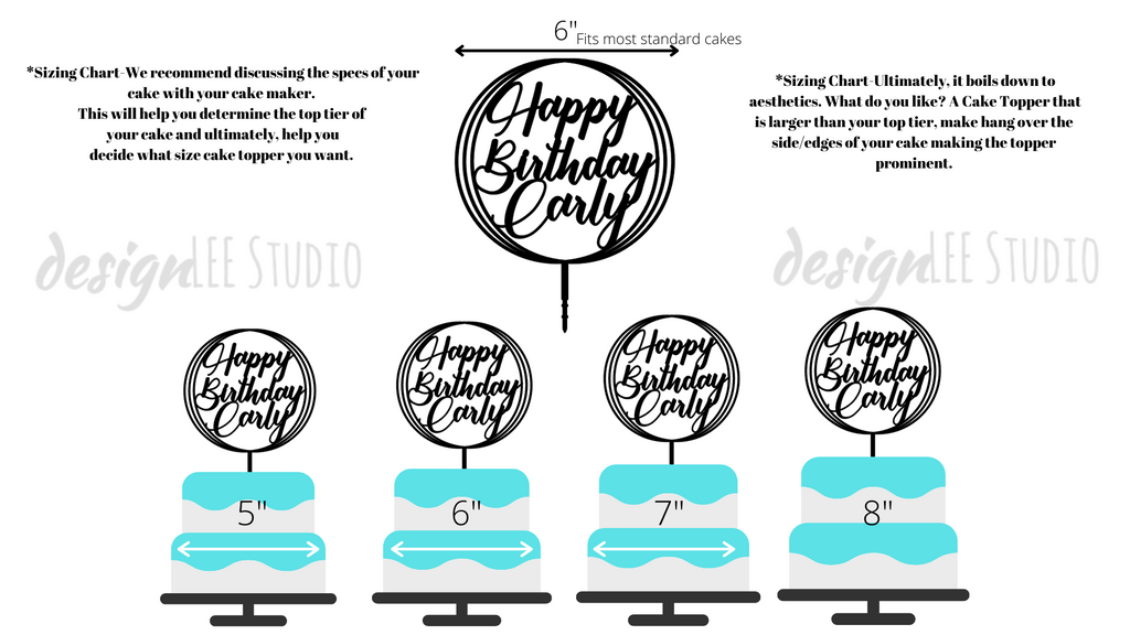 designLEE Studio Custom Cake Toppers size chart