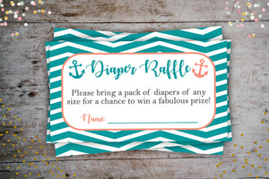Nautical Coral Diaper Raffle Tickets | Baby Shower Party Add-On, Digital Download, designLEE Studio, designLEE Studio