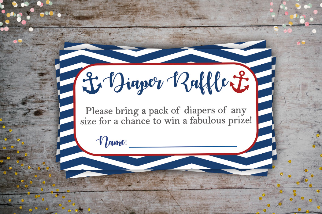Nautical Navy Diaper Raffle Tickets | Baby Shower Party Extra, Digital Download, designLEE Studio, designLEE Studio