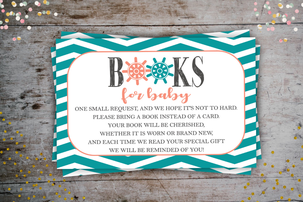 Nautical Coral Book Request Card | Books For Baby, Digital Download, designLEE Studio, designLEE Studio