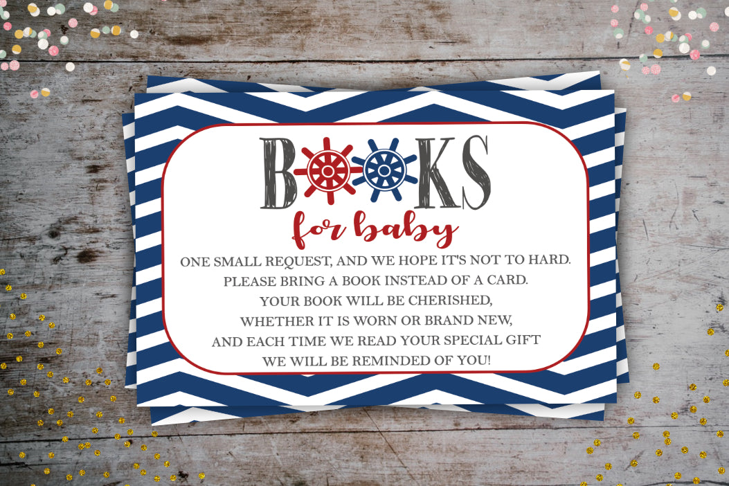 Nautical Navy Book Request Card | Books For Baby, Digital Download, designLEE Studio, designLEE Studio