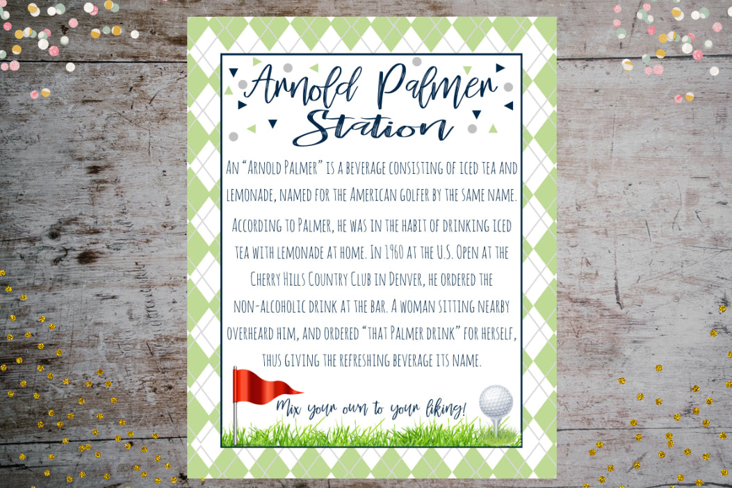 Arnold Palmer Drink History Sign | Golf Theme Birthday Printable Décor, Digital Download, designLEE Studio, designLEE Studio