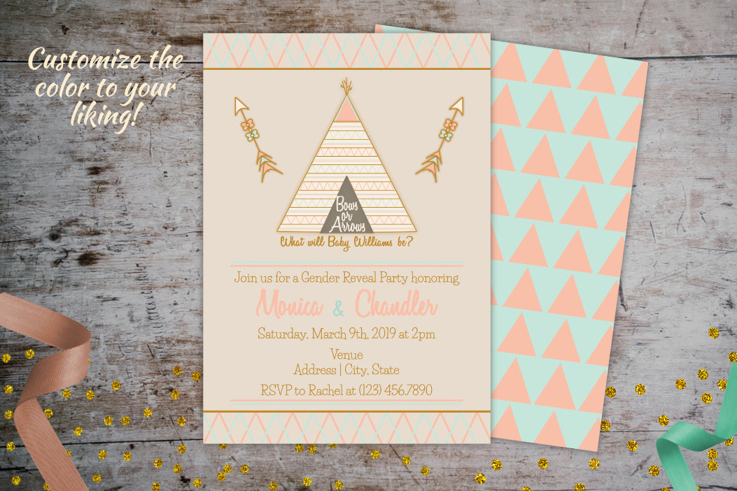 Bows or Arrows Gender Reveal Invitation | Tribal Baby Shower Invitation, Gender Reveal Invitation, designLEE Studio, designLEE Studio