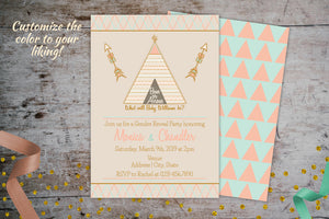 Bows or Arrows Gender Reveal Invitation | Tribal Baby Shower Theme Invitation, Gender Reveal Invitation, designLEE Studio, designLEE Studio