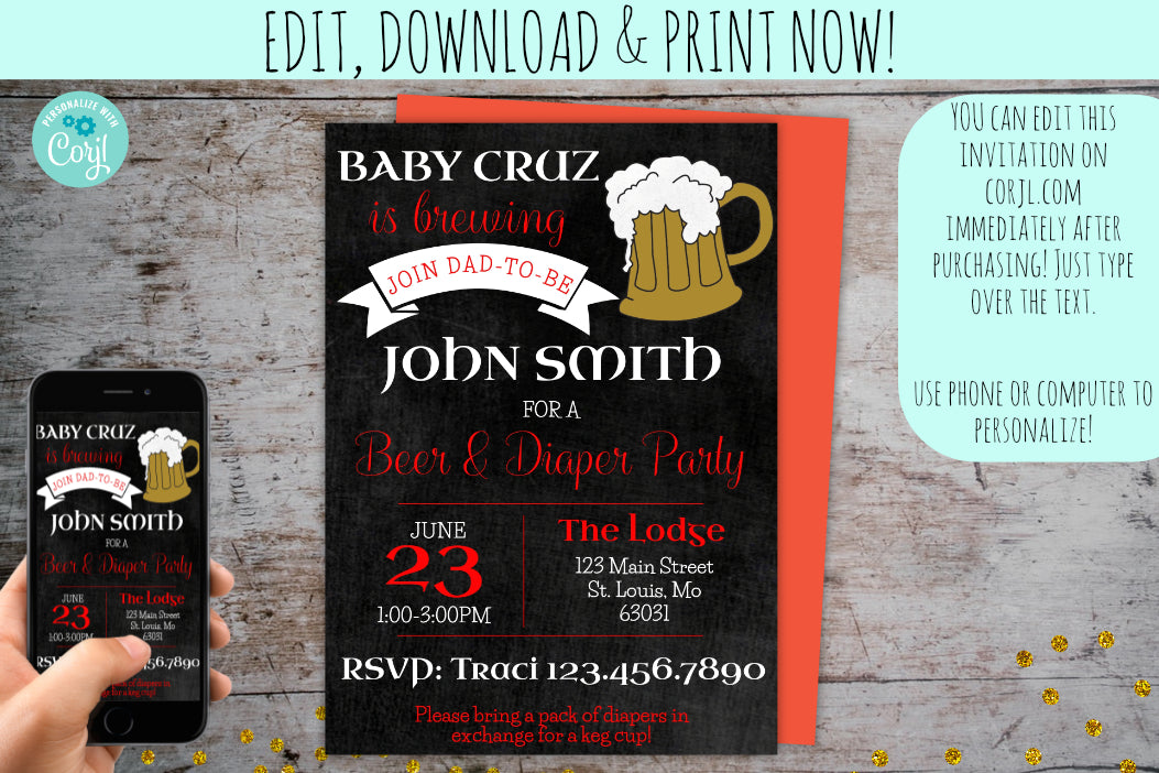 Baby Brewing Baby Shower Invititation | Diaper Party Chalkboard Invite, Baby Shower, designLEE Studio, designLEE Studio