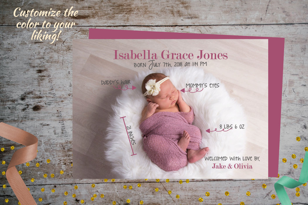 Baby Birth Stats Announcement Photo Card For Boy or Girl, Baby Birth Announcement Card, designLEE Studio, designLEE Studio