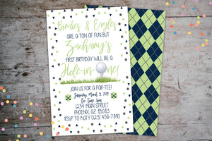 Golf Birthday Invitation | Hole-In-One Kids Birthday ParTEE, Birthday Invite, designLEE Studio, designLEE Studio