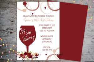 Wine Themed 40th Birthday Invitation | Floral Wine Glass, Birthday Invite, designLEE Studio, designLEE Studio