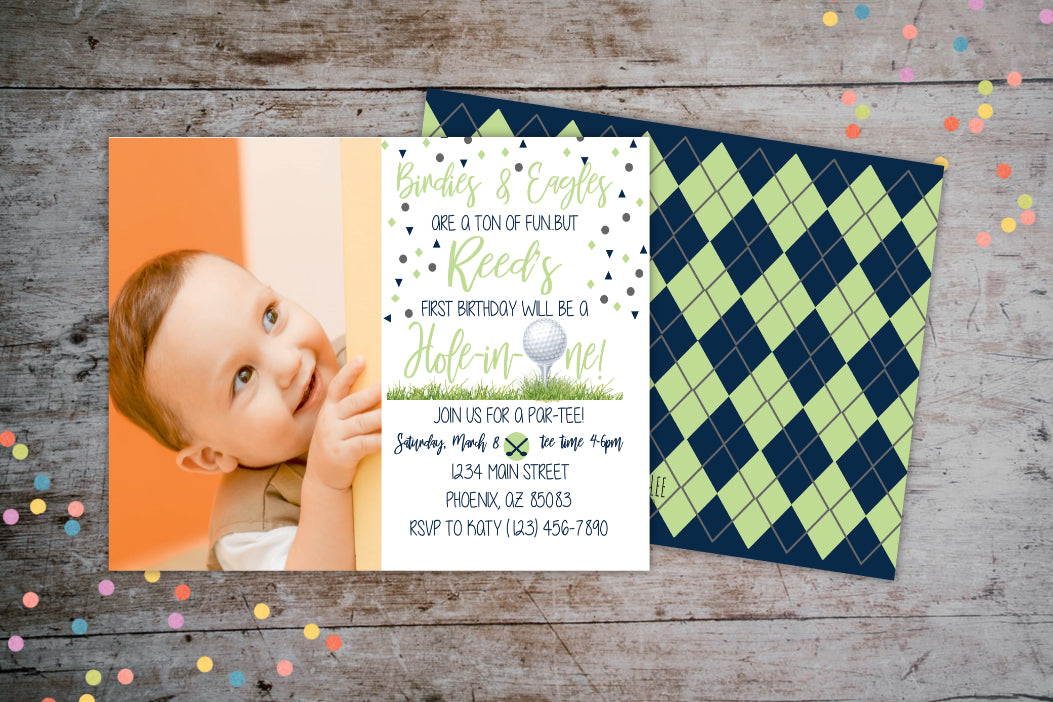 Hole-In-One Birthday Party Invitation | Golf ParTEE Birthday Invite, Birthday Invite, designLEE Studio, designLEE Studio
