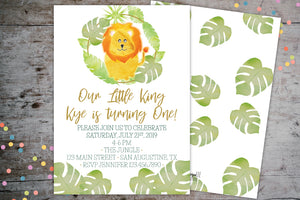 Safari Jungle Lion Birthday Party Invitation | Kids Birthday Invite, Birthday Invite, designLEE Studio, designLEE Studio