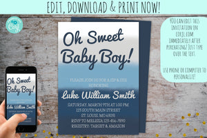 Sip & See Invitation | Meet & Greet Blue Ombre, Meet & Greet, designLEE Studio, designLEE Studio
