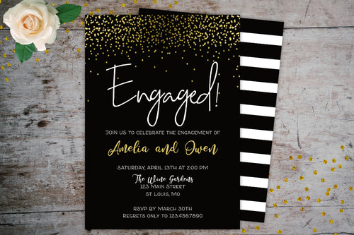 Gold Glitter Engagement Party Invitation | Black Background Simple Invitation, Engagement Party Invitations, designLEE Studio, designLEE Studio