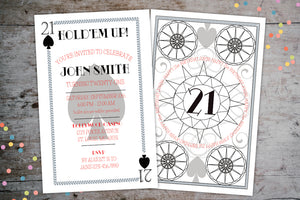 Casino Night Playing Card Poker Birthday Party Invitation | Las Vegas Theme Invite, Birthday Invite, designLEE Studio, designLEE Studio