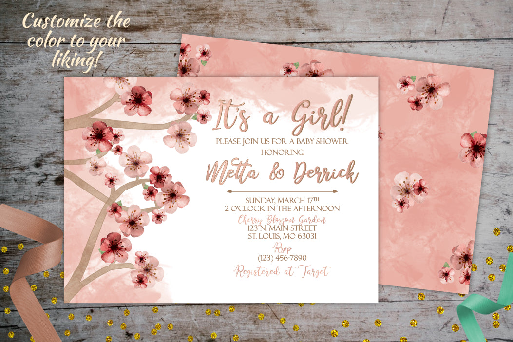 Cherry Blossom Baby Shower Invitation | Pink Watercolor Invitation, Baby Shower, designLEE Studio, designLEE Studio
