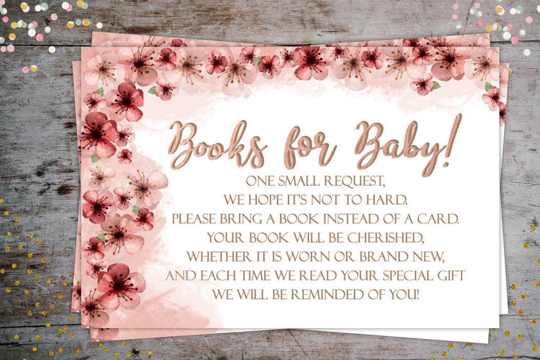 Cherry Blossom Books for Baby Request Card | Baby Shower Party Extra, Digital Download, designLEE Studio, designLEE Studio